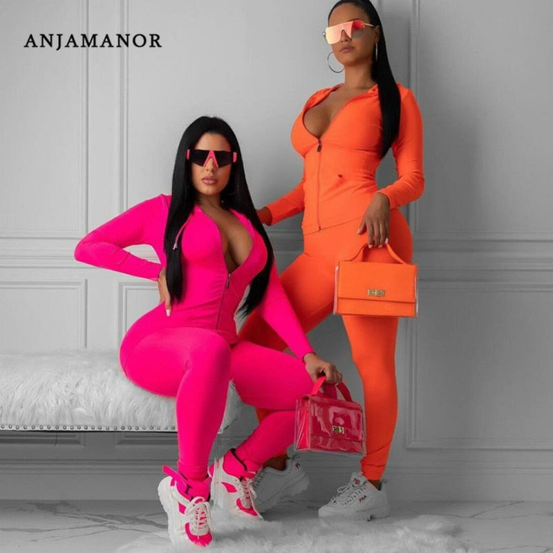Two Piece Tracksuit Set Fall Winter Sexy Neon Orange Outfits for Women Sweat Suit Hoodie and Sweatpants. 30 days delivery. dresses