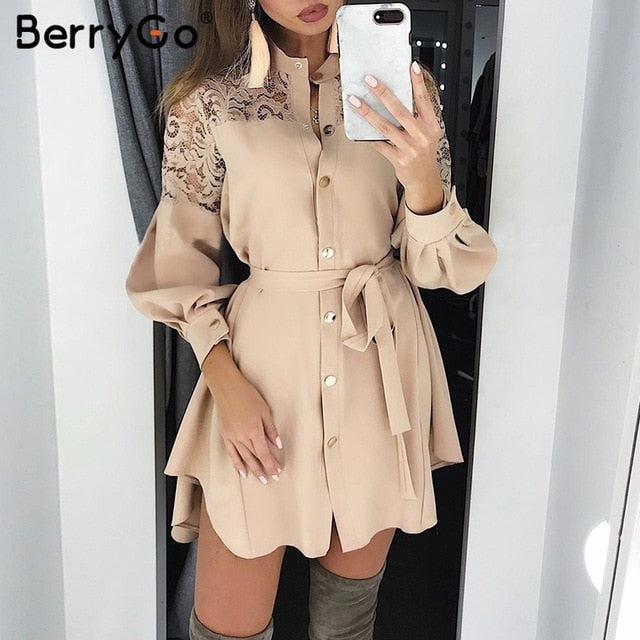 BerryGo lace women shirt dresses pure mesh embroidery  Long sleeve button office ladies dresses Solid sashes summer mini dress