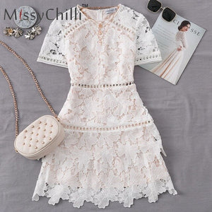 MissyChilli Hollow out white lace dress Women floral short sleeve bodycon sexy club dress Female autumn elegant party dress mini
