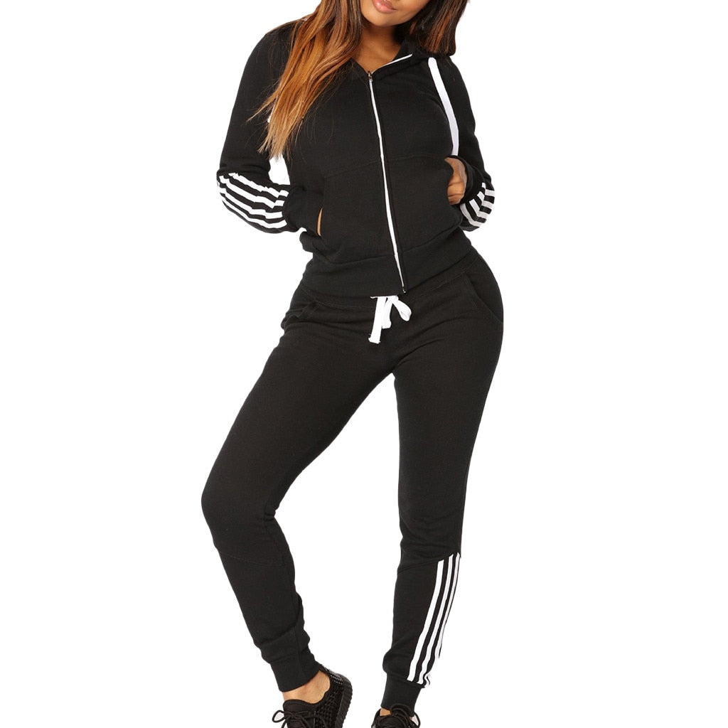 Tracksuit women 2 piece set women's sweat suit Solid Color Hooded Long sleeve zipper stripe Sweatshirt 30 days delivery. dresses