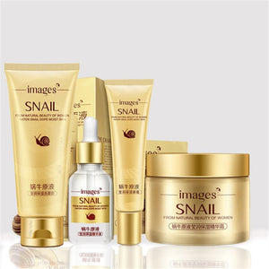 Oloey 4 Pcs Snail Face Skin Care Set Day Cream/ Essence/ Eye Anti Aging Repair Whitening Nursing Facial Set