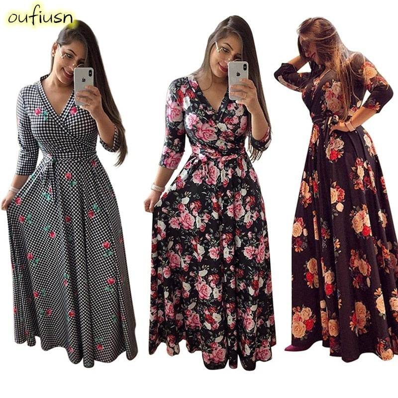 Oufisun Spring Sexy Deep V Neck Women's Dress Bohemia Tunic Maxi Dresses Elegant Vintage Flowers Print Dress Vestidos  Plus Size