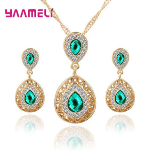 New Arrival Women Lady Girls Fashion Dubai Jewelry Sets Top Quality 925 Sterling Silver Waterdrop Pendnt Necklace/Earrings