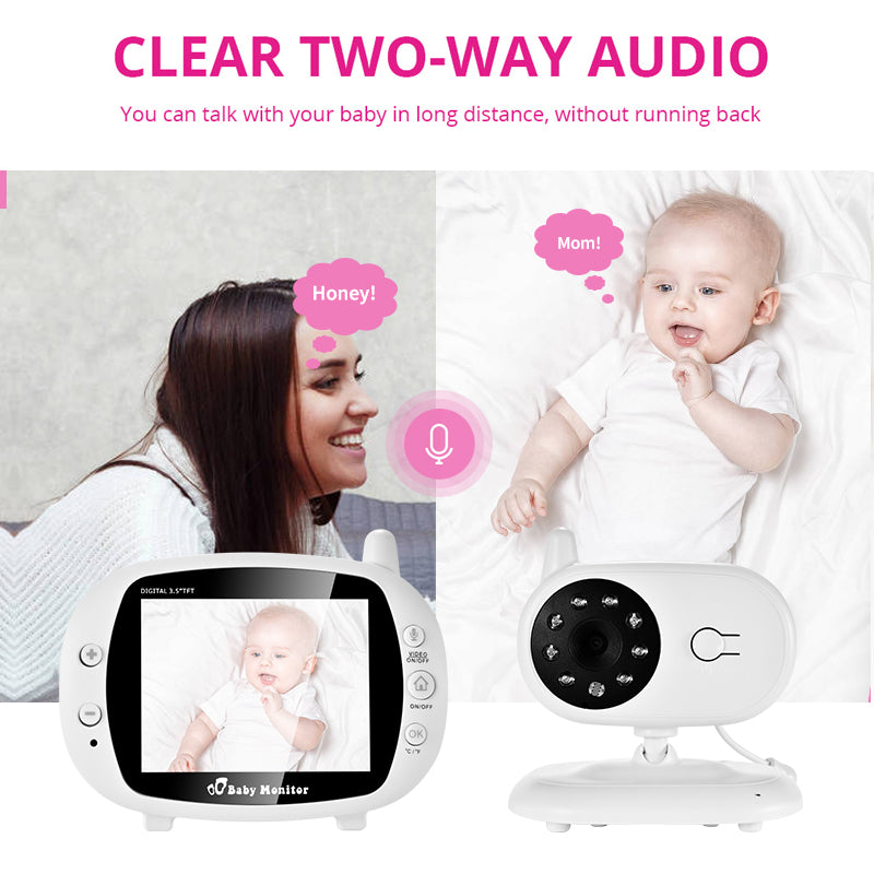 3.5 Inch Wireless Baby Video Monitor VOX Security Camera Nanny IR Night Vision Voice Call Babyphone With Temperature Monitoring