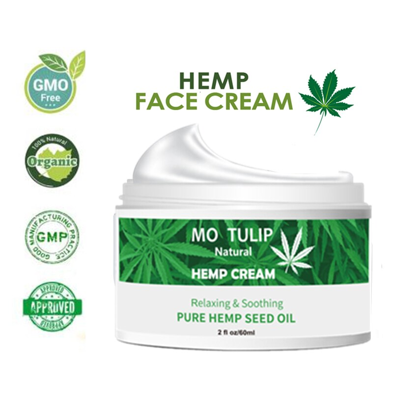 MO TULIP Hemp Oil Cream Essential Day & Night Face Cream Anti-aging Relieve Anxiety Help Sleep Moisturizing Cream DROP SHIPPING
