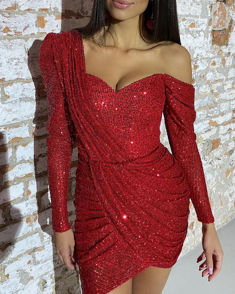 Sequined One Shoulder Ruched Bodycon Dress Women Long Sleeve Irregular Solid Red Night Club Party Mini Dress