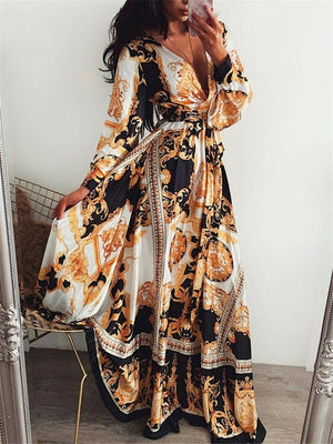 2019 New Style Fashion Elegant Women Sexy Boat Neck Glitter Deep V Neck Print Party Dress Formal Long Dress Sexy Clubwear