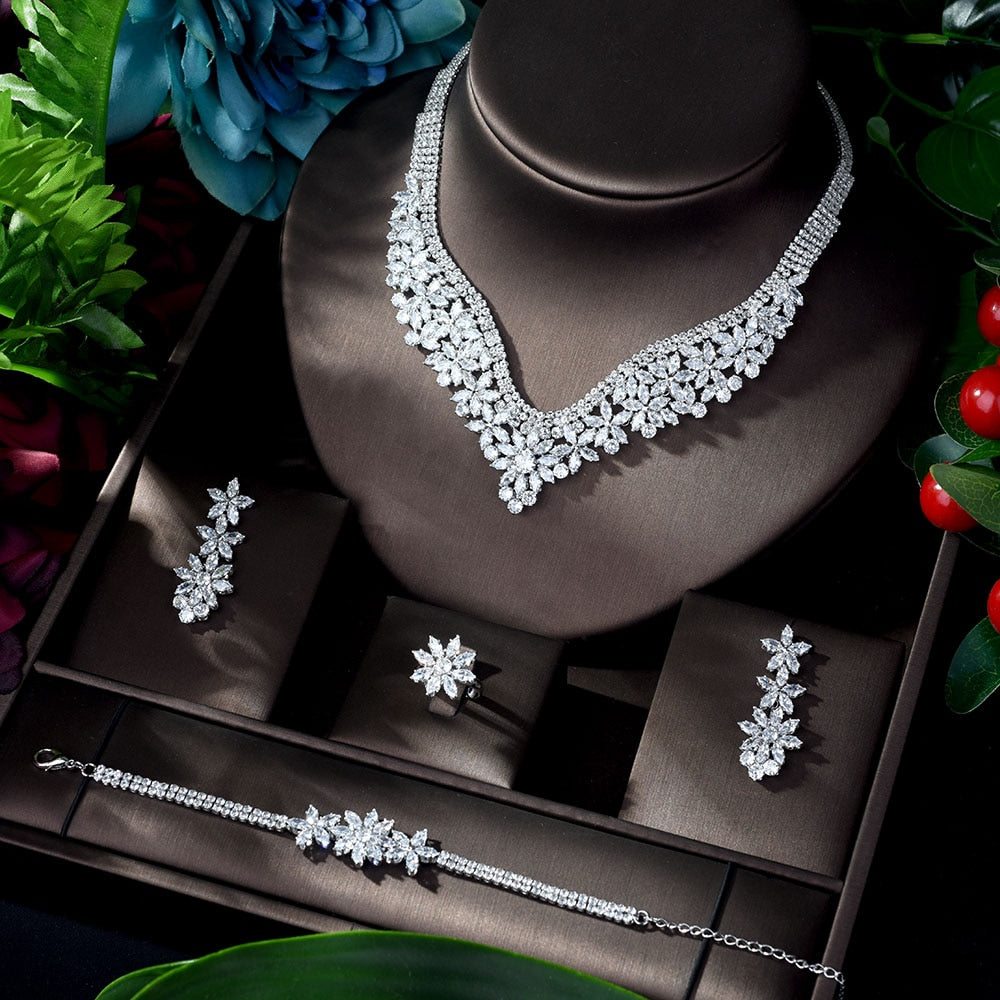 HIBRIDE Fashion Cubic Zircon Wedding Jewelry Set For Women Hot Selling Dress Accessories Crystal 4pcs Sets Jewelry Set N-917