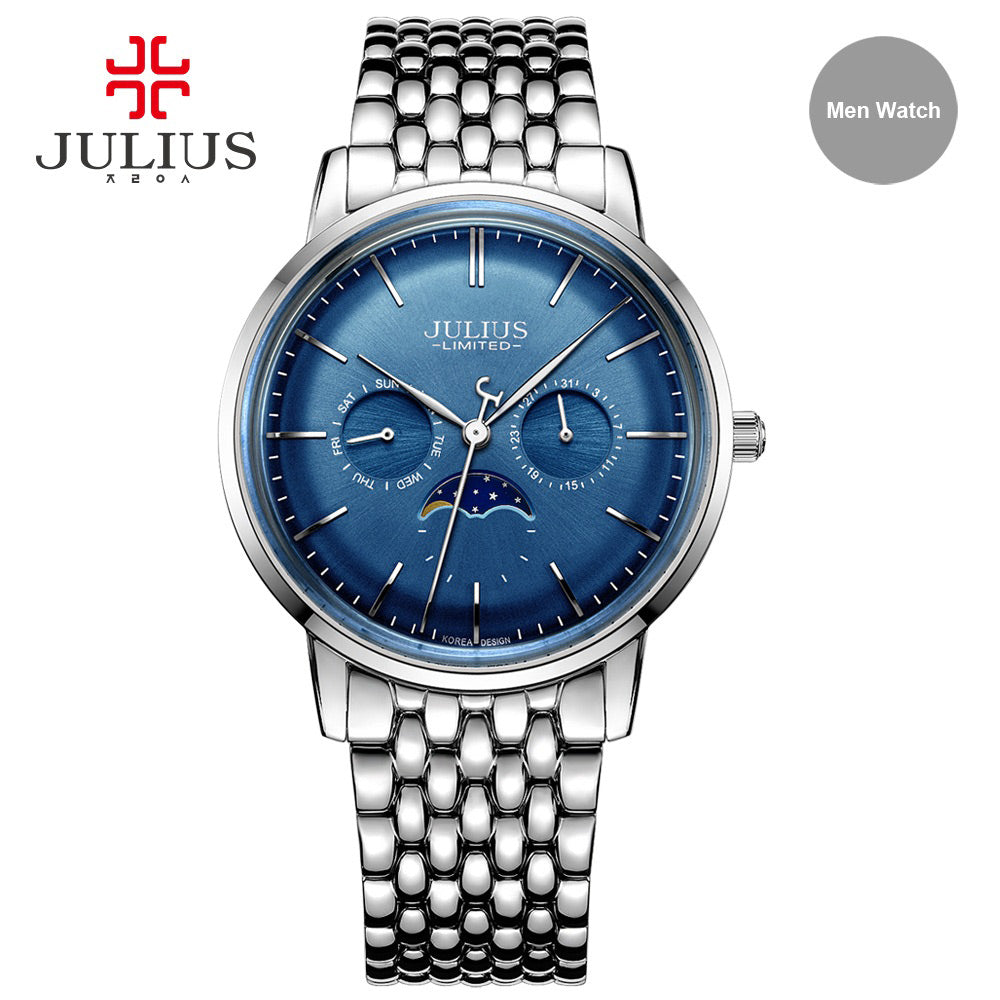 Julius Fashion Leisure 316L Steel Expensive Quartz Limited Edition Moon Phase High Quality Brand Logo Chronograph Watch JAL-041