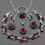 Flawless Four Piece 925 Sterling Silver Women Wedding Jewelry Sets Red Garnet  Ring Size 6/7/8/9/10 Bracelet Length 17CM  JS21