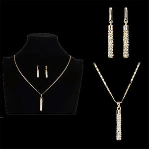 New Style Fashion Necklace Gold Color Plated Pendant Cylindrical Rod Ladies Earrings And Pendant Necklace Wedding Jewelry Set