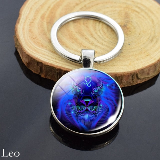 12 Zodiac Sign Keychain Sphere Ball Crystal Key Rings Scorpio Leo Aries Constellation Birthday Gift for Women and Mens