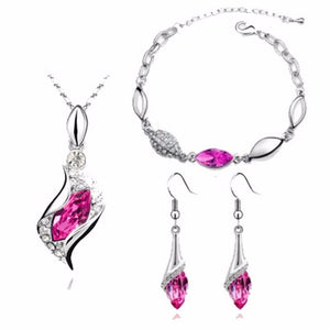 Fashion Top Quality Elegant luxury design new fashion colorful Austrian crystal drop Gold Chain jewelry sets women gift