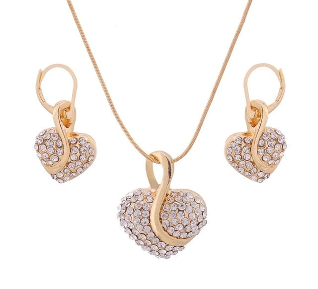 Unique Design Double Layer Water Drop Jewelry Sets for Women Fashion Crystal Necklace Earrings Bridal Wedding Jewelry Sets Gift