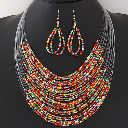 DIEZI New Fashion African Beads Jewelry Sets Bohemian Multilayer Colorful Ladies Women Jewelry Statement Necklace Earrings Set