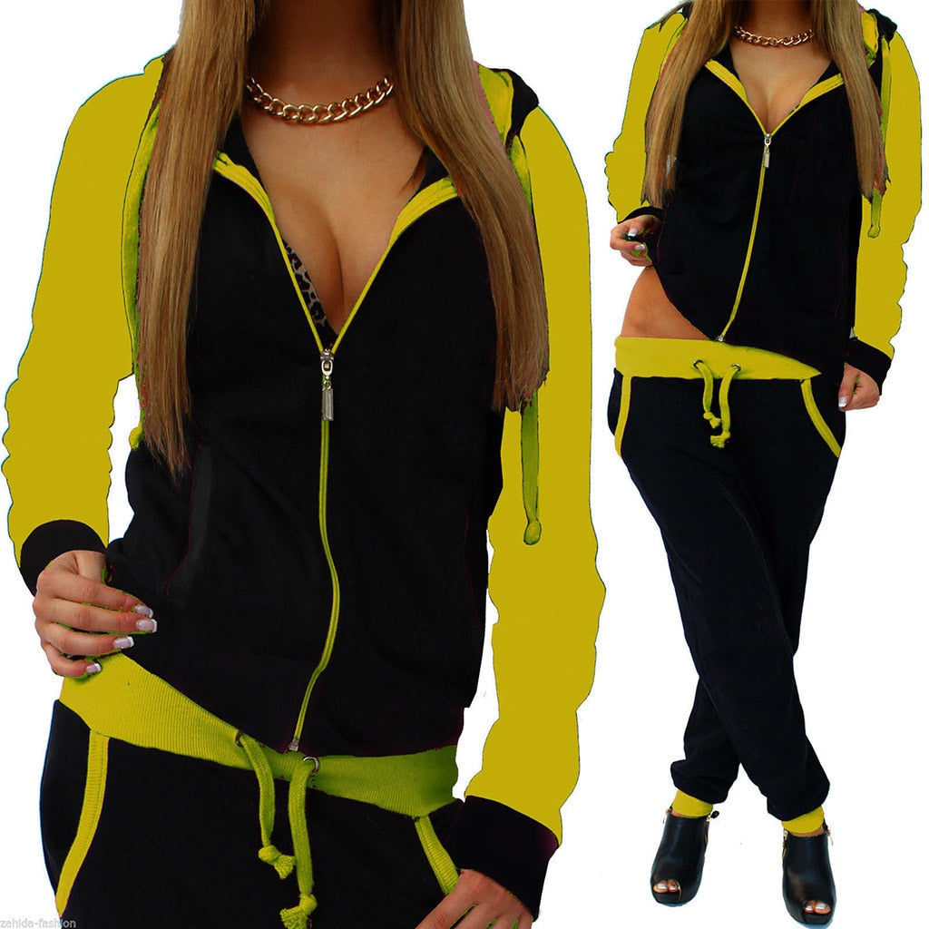 Tracksuit women 2 piece set women's sweat suit  Solid Color Long sleeve zipper Hooded Sport Sweatshirt, 30 days delivery. dresses