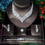 HIBRIDE Fashion Cubic Zircon Wedding Jewelry Set For Women Hot Selling Accessories Crystal 4pcs Sets Jewelry Set N-917