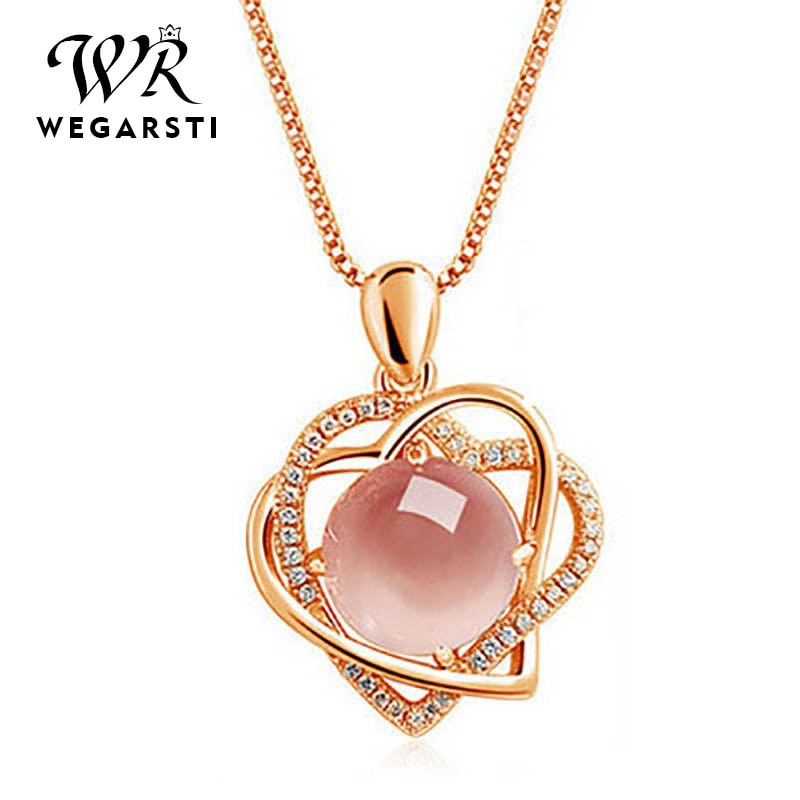 WEGARSTI 6 Colors 925 Silver Jewely Hear Charm Pendant Necklaces for Women New Fashion Jewely New Fashion Fine Jewelry Gift