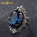 Jewepisode Luxury Big Peacock Blue Sapphire Rings for Women Men Vintage Real Silver 925 Jewelry Ring Anniversary Party Gifts