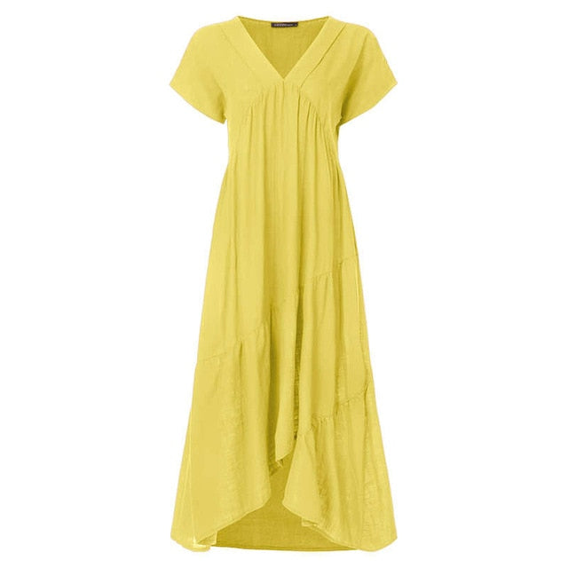 Plus Size Ruffle Dress Women's Asymmetrical Sundress ZANZEA 2019 Fashion Summer Maxi Vestidos Female Short Sleeve Robe Femme 5XL