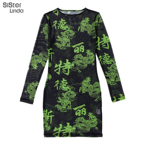 Sisterlinda See-through Sexy Mini Dress Women Letter Dragon Print Bodycon Dress Full Sleeve O-neck Women Dresses Vestidos Mujer Delivery in 21 to 28 days