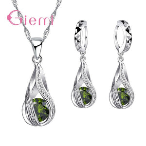 2019 100% 925 Sterling Silver New Water Drop Cubic Zircon Pendant Necklace&Earrings For Women Ladies Jewelry Sets Wedding