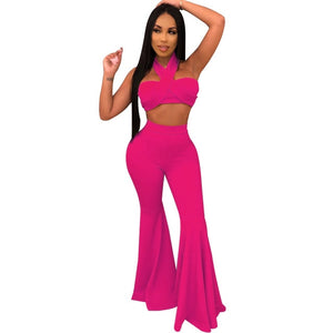 Gems Women Two Piece Set Tracksuit For Women Halter Backless Top And Flare Pant Sweat Suit Sexy 2 Piece Club Outfit Matching Set. 30 days delivery.