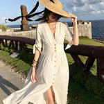 Colorfaith 2019 Women Beach Holiday Dresses Spring Summer Elegant Sexy V-Neck Pleated Vintage Buttons Long White Dress DR9197