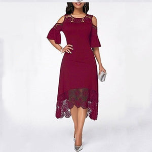 Wipalo Women Plus Size Vintage Sleeveless High Low Hem Belted Lace Party Dress High Waist Solid Maxi Dress S-5XL Ladies Vestidos
