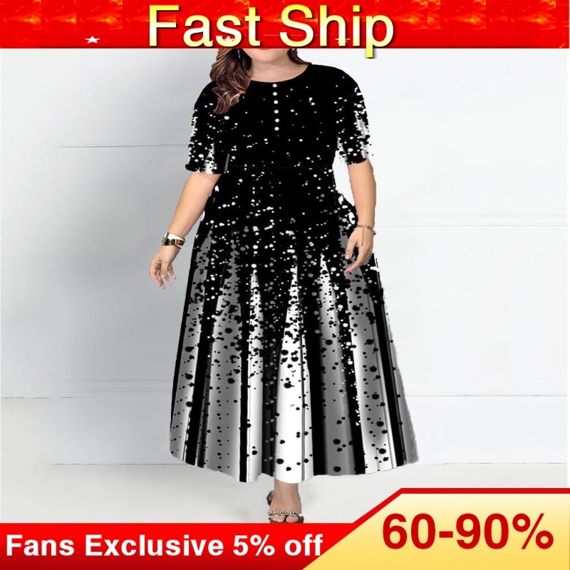 Plus Size Women Half Sleeve Elegant Round Neck Boho Bandage Print Long Maxi Dress Ladies Bohemian Dress Elegant Ladies vestido