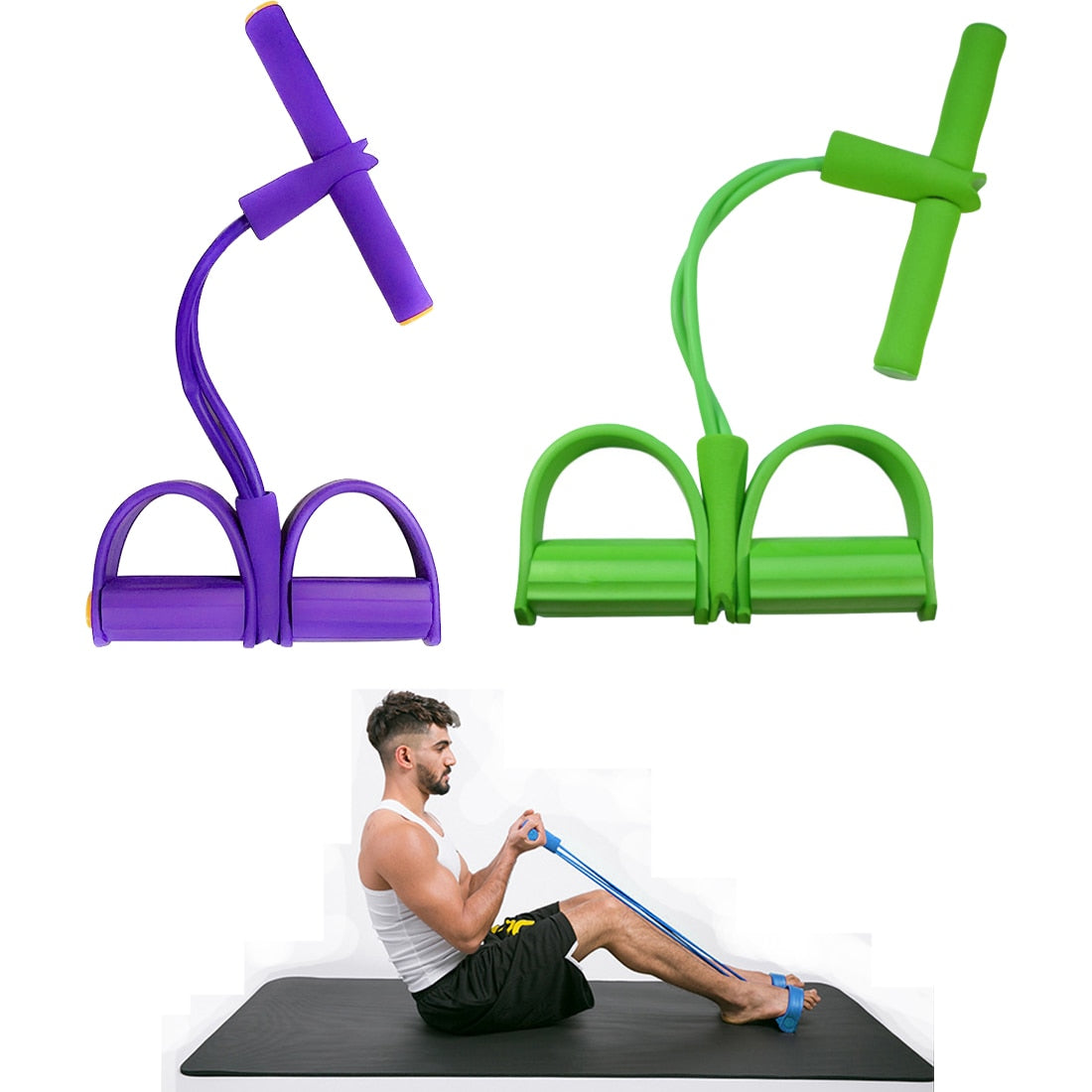 Elastic Pull Ropes Exerciser Rower Belly Resistance Band Home Gym Sport Training Elastic Bands For Fitness VIP available in purple. Delivery in 14 to 21 days