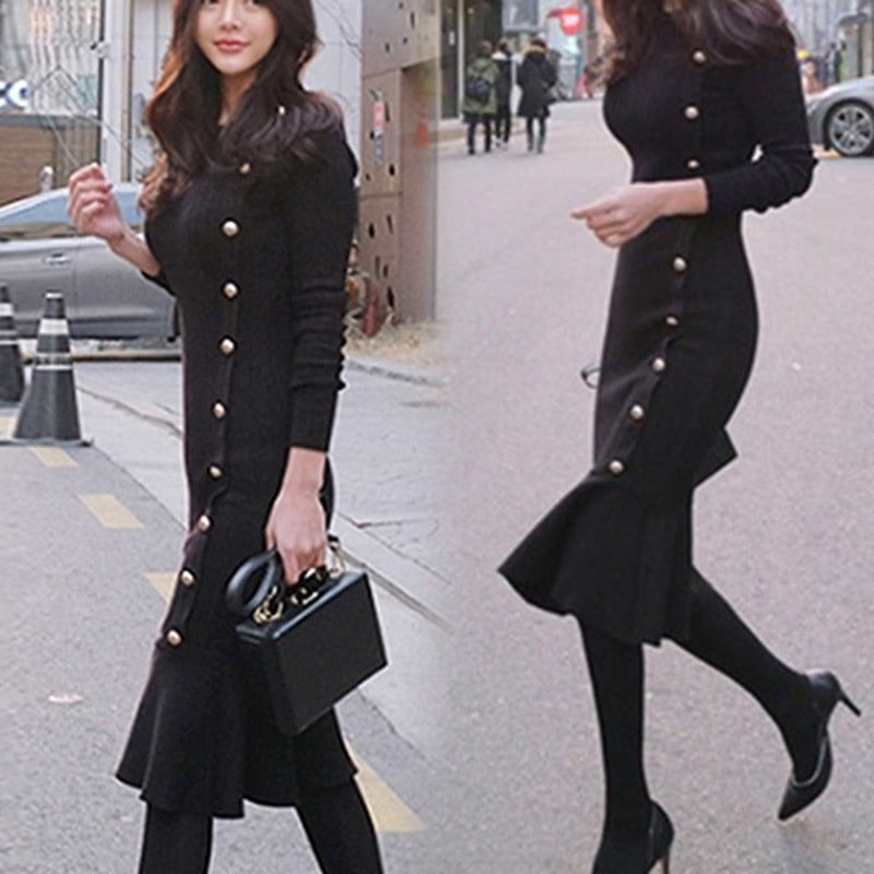 Women Lady Long Sleeve Round Collar Fishtail Knit Bodycon Dress for Autumn Winter SHIP FROM US A66