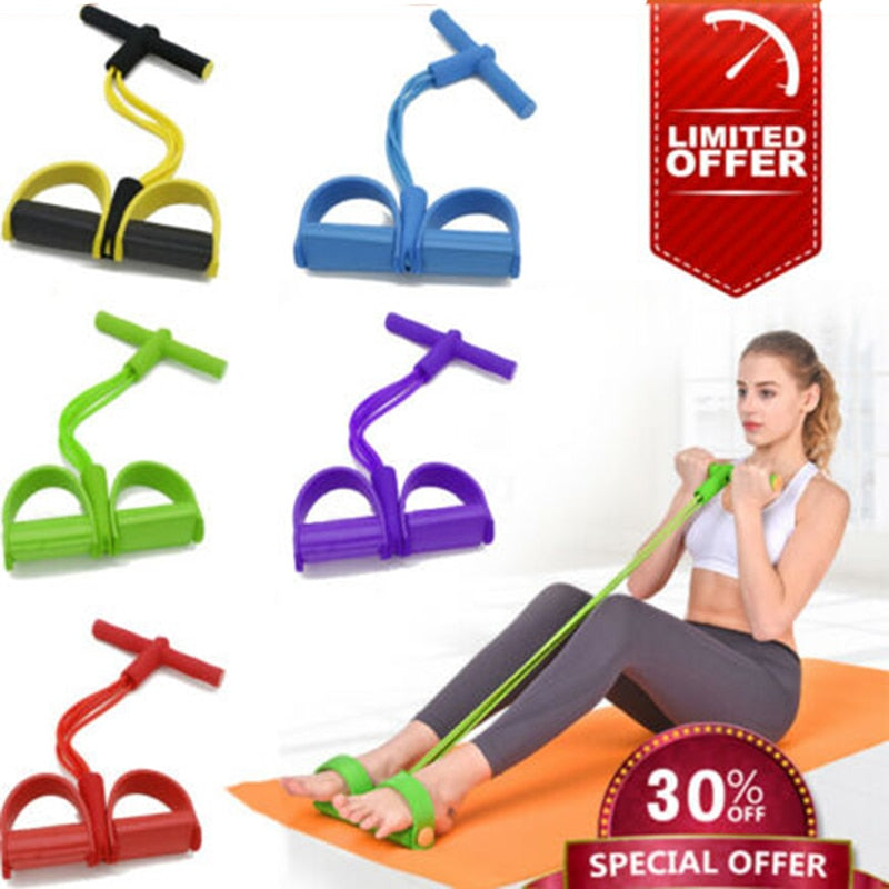 4 Tube Fitness Elastic Pull Rope Foot Pedal Body Slim Yoga Resistance Bands Workout Latex bands Sport Exercise Fitness Equipment