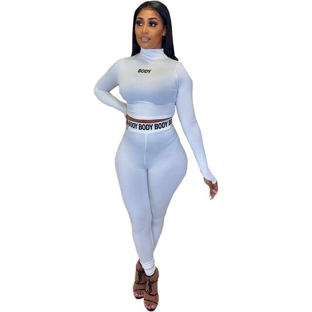 Sexy Letter Print 2 Piece Set Women Club Outfits Long Sleeve Top Pants Sweat Suits Bodycon Tracksuit Matching Sets. 30 days delivery.