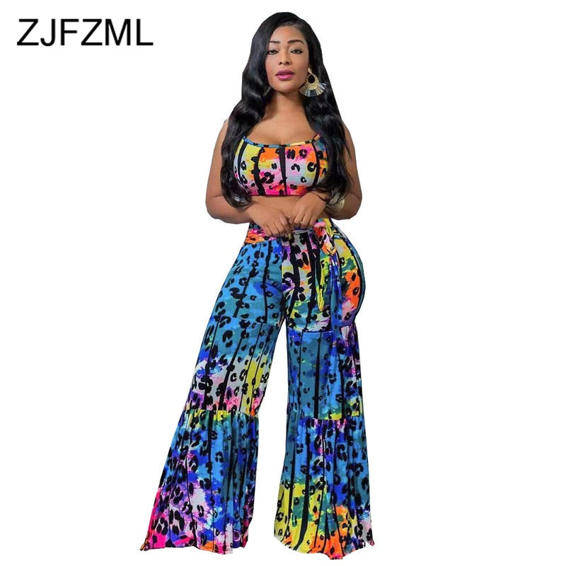 Leopard Sexy 2 Piece Outfits for Women Clothes Spaghetti Strap Backless and High Waist Flare Pants Summer Sweat Suits. 30 day delivery.