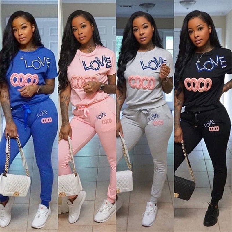 Letter Beading 2 Piece Set Women Summer Tracksuit Lounge Wear Outfits Top and Pant Sweat Suits Two Piece Matching Sets. 30 days delivery.