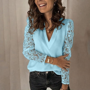 Women V-neck Lace Hollow Out Blouse Patchwork Long Sleeve White Office Ladies Blouses 2020 Summer Casual Solid Female Tops delivered in 30 days. dresses