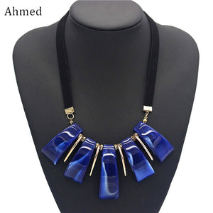 Ahmed Bohemian Colorful Resin Geometric Pendant Long Necklaces Fashion New Boho Statement Necklace Collier Femme Jewelry