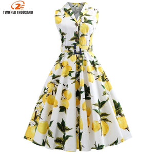 S-5XL Plus Size Lemon Print Summer Vintage Dress Turn Down Belts Button Women Retro Dress Elegant Party Vestidos Office Dresses