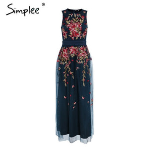 Simplee Elegant mesh overlay party dress women Stretch sleeveless vest long dress summer 2018 Embroidery black dress robe femme