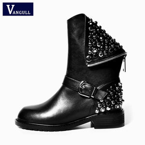 Genuine Leather Boots Rivet Square Heels Autumn Winter Ankle Boots Sexy fashion Martin Fur Snow Boots Shoes Woman big Size 4-10