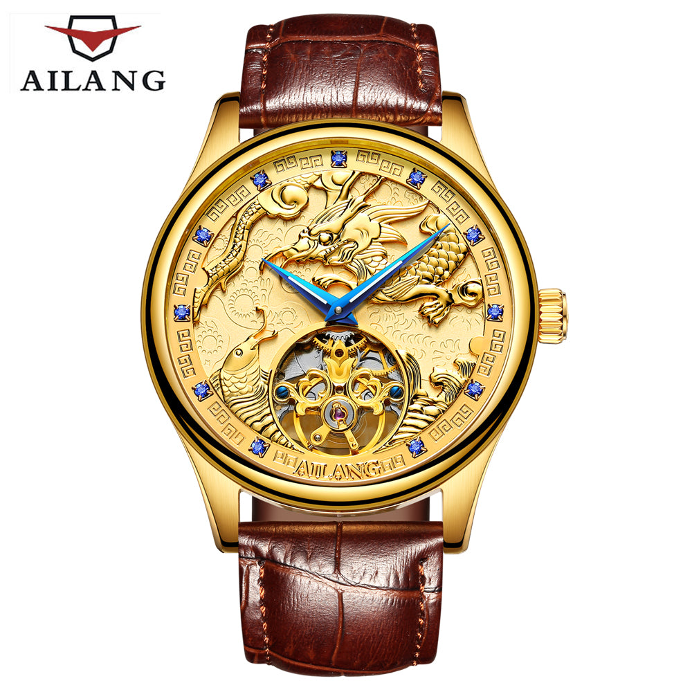 AILANG Top men's luxury brand watch gold plated mechanical gear watches expensive leather strap dragon horse clock Chinese style