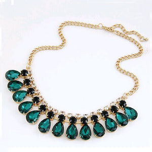 IPARAM 2019 new fashion jewelry green crystal necklace and pendant fashion high fashion necklace