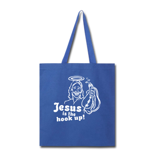 Jesus is the hook up Tote Bag - royal blue