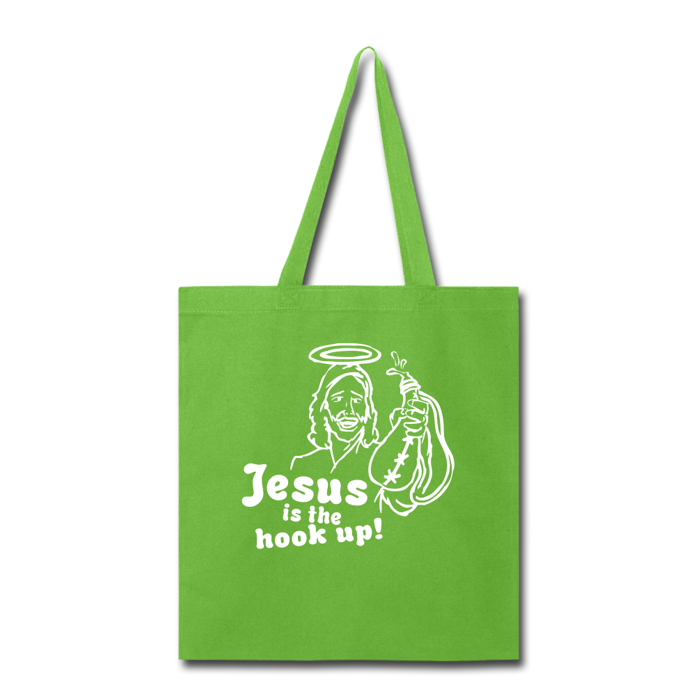 Jesus is the hook up Tote Bag - lime green