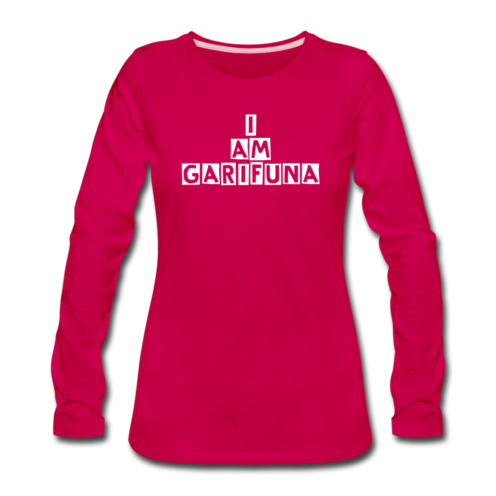 Women's Premium Long Sleeve T-Shirt ( I am garifuna0 - dark pink