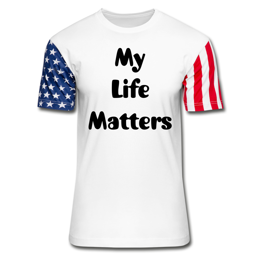 Unisex Stars & Stripes T-Shirt (my life matters) - white