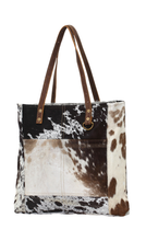 Load image into Gallery viewer, Cowhide Pocket Tote Bag