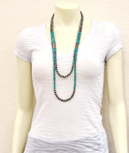 Load image into Gallery viewer, Two Strand Turquoise and Navajo Pearl Necklace