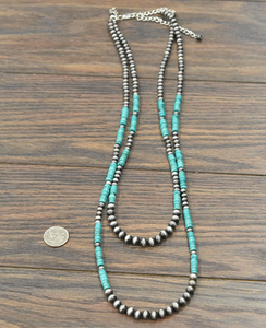 Two Strand Turquoise and Navajo Pearl Necklace